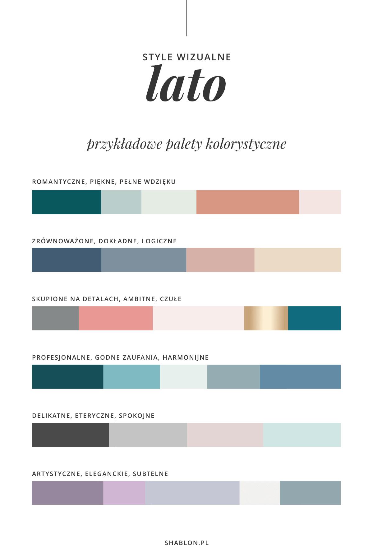 kreowanie wizerunku firmy paleta kolorów lato