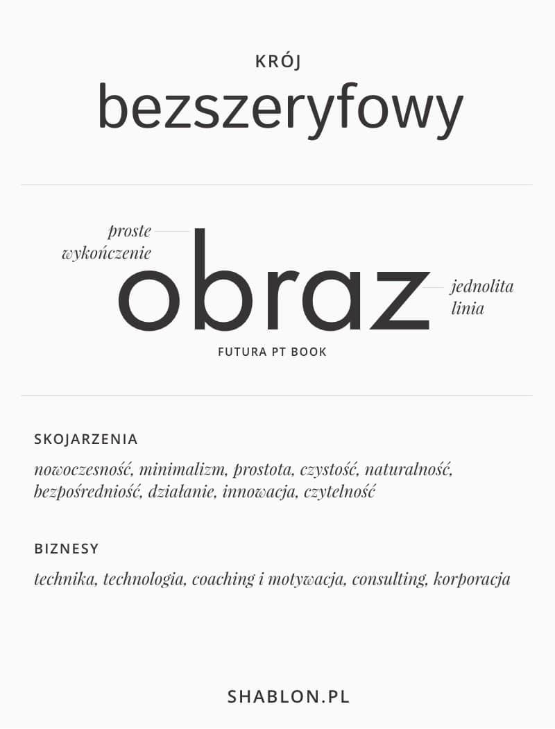rodzaje czcionek - kroje bezszeryfowe Sans serif