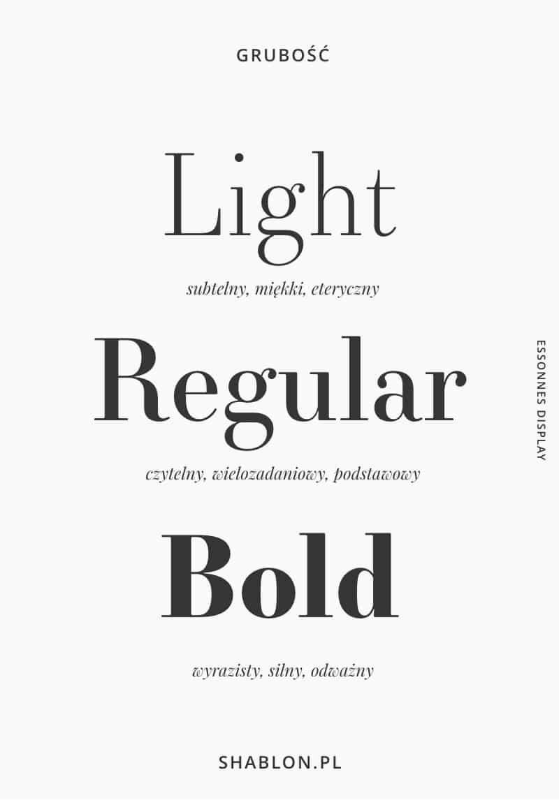 rodzaje czcionek - grubość fontu
